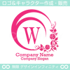 W,アルファベット,花,植物のロゴマークデザインです。