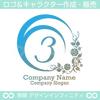数字の3,花,月,植物リースのロゴマークデザインです。