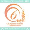 6,数字,花,フラワー,植物,丸,リースのロゴマークデザインです。