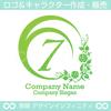 数字の7,花,植物,月,丸,リースのロゴマークデザインです。