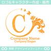 C文字,花,蝶,植物,リースの優雅なロゴマークデザインです。