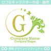 G,文字,花,蝶,植物,リースの優雅なロゴマークデザインです。
