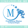 M,文字,花,蝶,バタフライ,植物,リースの優雅なロゴマーク