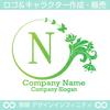 N,アルファベット,花,蝶,植物,リースの優雅なロゴマークです。