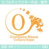 O,文字,花,蝶,植物,リースの優雅なロゴマークデザインです。