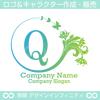Q,文字,花,フラワー,蝶,植物,リースの優雅なロゴマークです。