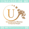 U,文字,花,蝶,バタフライ,植物,リースの優雅なロゴマーク