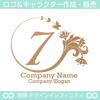 7,数字,花,蝶,植物,リースの優雅なロゴマークデザインです。