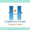 H,アルファベットH,太陽,風のイメージのロゴマークデザイン