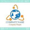 地球,回転,光,グローバル,ビジネスのロゴマークデザインです。