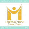 M文字,人のイメージのロゴマークデザインです。