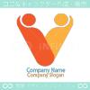 V文字、人間がモチーフのロゴマークデザインです。