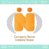 N文字、人間がモチーフのロゴマークデザインです。