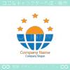 地球、太陽、星のシンボルマークのロゴマークデザインです。
