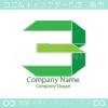 数字3、グリーンのシンボルマークのロゴマークデザインです。