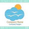 太陽、雲、鳥をイメージしたロゴマークデザインです。