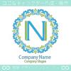 N文字、花、リースをイメージしたロゴマークデザインです。