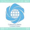 地球と拡散と平和のシンボルマークのロゴマークデザインです。