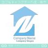 住宅とF文字のシンボルマークのロゴマークデザインです。