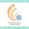 地球と人のと平和のシンボルマークのロゴマークデザインです。