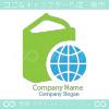 地球とグリーンのシンボルマークのロゴマークデザインです。