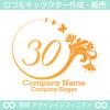 30数字の1,花,蝶,植物,リースの優雅なロゴマークデザインです。