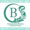 リース,B文字,月,葉,リーフ,植物の綺麗なロゴマークデザインです。