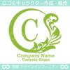 C文字,植物,月,葉,リーフ,リースの美しいロゴマークデザイン