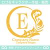 リース,E文字,月,葉,リーフ,植物の綺麗なロゴマークデザインです。