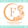 F文字,植物,月,葉,リーフ,リースの美しいロゴマークデザインです。