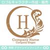 リース,H文字,月,葉,リーフ,植物の綺麗なロゴマークデザイン