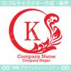 リース,K文字,月,葉,リーフ,植物の綺麗なロゴマークデザインです。