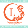 L文字,植物,月,葉,リーフ,リースの美しいロゴマークデザインです。