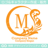 M文字,月,葉,リーフ,リース,植物の美しいロゴマークデザイン