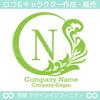 リース,N文字,月,葉,リーフ,植物の綺麗なロゴマークデザインです。