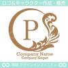 P文字,月,葉,リーフ,リース,植物の美しいロゴマークデザインです。