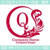 リース,Q文字,月,葉,リーフ,植物の綺麗なロゴマークデザインです。