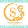 S文字,月,葉,リーフ,リース,植物の美しいロゴマークデザインです。