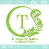 リース,T文字,月,葉,リーフ,植物の綺麗なロゴマークデザインです。