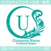 U文字,植物,月,葉,リーフ,リースの美しいロゴマークデザインです。