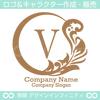V文字,月,葉,リーフ,リース,植物の美しいロゴマークデザインです。