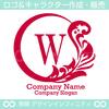 リース,W文字,月,葉,リーフ,植物の綺麗なロゴマークデザイン