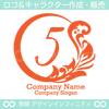 5,数字,葉,月,リーフ,リース,植物の優雅なロゴマークデザインです。