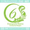 6,数字,植物,月,葉,リーフ,リースの美しいロゴマークデザインです。
