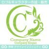 C文字,太陽,波,葉,リーフ,リース,自然のロゴマークデザイン