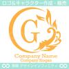 G文字,太陽,波,葉,リース,自然の美しいロゴマークデザインです。