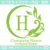アルファベット,H,太陽,葉,波のロゴマークデザインです。