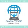 パソコン,地球,グローバル,インターネットのロゴマークデザインです。