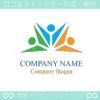 人間,協力,仲間,楽しいをイメージしたロゴマークデザインです。