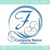 F文字,波,豪華,太陽,青をイメージしたロゴマークデザインです。